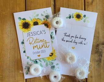 Retiremint ecalyptus sunflower Retirement favor packets, Party favor, with or without mints  (set of 15), MT10006 envelope