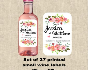 """Wedding wine labels small 2w"""" x 3h""""  floral, printed, waterproof label with adhesive backing, (set of 27 labels) Bridal shower #WL900051"""