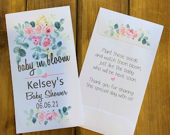 Baby shower favor seed packet, baby in bloom, pink flowers for baby girl shower favor, with or without seeds (set of 15)  sp20026