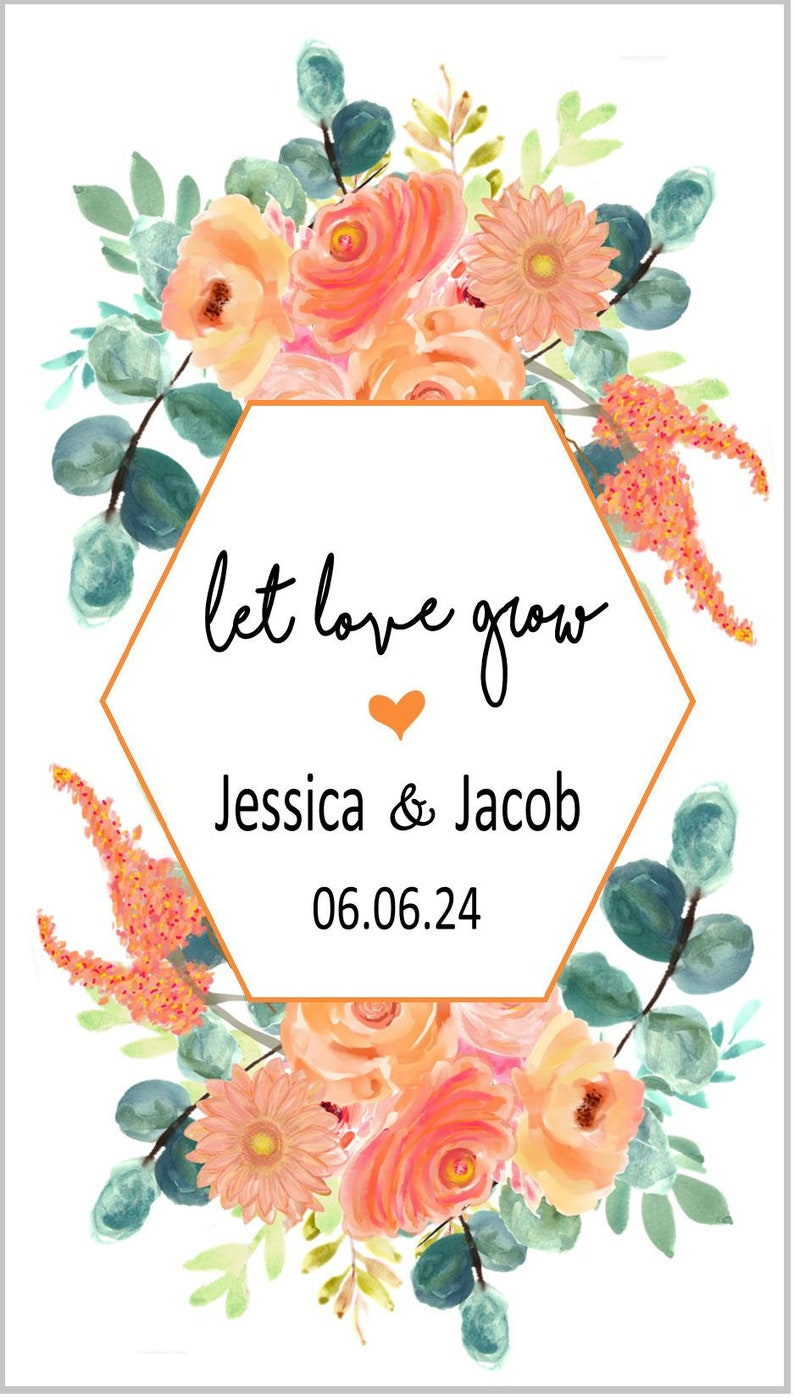 peach flowers and eucalyptus Bridal shower favor set of 15 sp20069 with or without seeds Wedding favor Let love grow seed packet favors