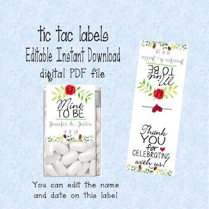 Editable Engage-mints Tic Tac DIY labels instant digital download home printable PDF