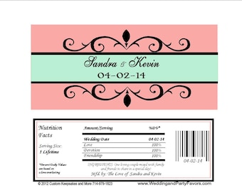 Mint and Coral Wedding Candy Bar Wrapper  - Personalized (set of 15) with foil pouch