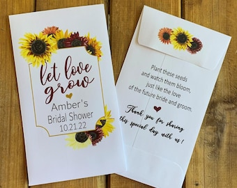 Sunflower Eucalyptus Bridal shower favor Let love grow wildflower seed packet, Wedding, with or without seeds (set of 15), sp20097