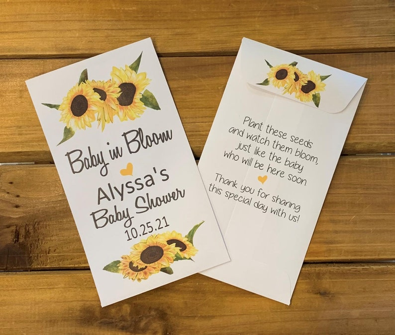 Sunflower Baby in bloom seed packet favors  baby boy or girl image 0
