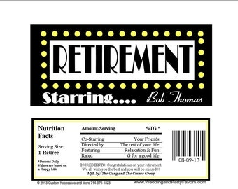 Retirement Candy Bar Wrapper Many Colors - Personalized (set of 15)