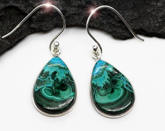 Beautiful Natural Carved Chrysocolla Sterling Silver Earrings Earth and Sky