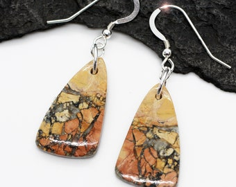 Mixed Metals Earrings Oxidized Silver Copper and Brass Earrings Healling Art Natural Healing Crystal Artisan Earrings Maligano Earrings