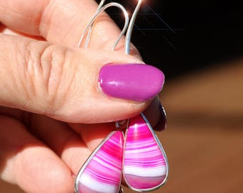 The Power of Pink - Hot Pink Banded Agate Sterling Silver Earrings