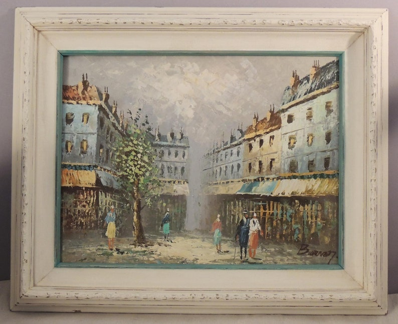 Framed Original Caroline Burnett Oil Painting, Caroline Burnett Paris Scene  Oil Painting, Burnett Paris Cityscape, Palette Knife Oil