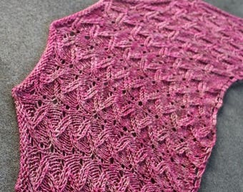 Pink Crescent Shaped Lace Pure Merino Wool Shawlette or Scarf