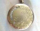 Vintage Victorian Gold Filled Locket Crescent Moon Engraved Floral