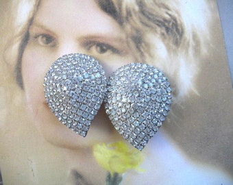 Free Shipping Vintage Pair  Clip on Earrings by  Gina Renee of Atlanta Handmade hand Painted  Marbleized Enameling and Clear Rhinestone