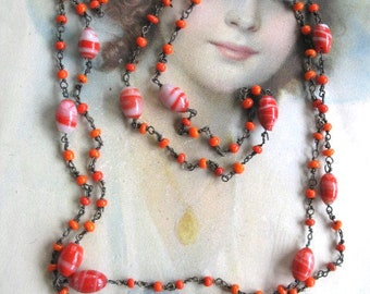 Halloween Costume Vintage Flapper Glass Bead Necklace Pouch