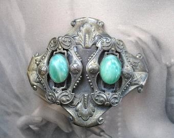 Antique Edwardian Silver Filigree 3D Art Deco Brooch Sash Pin