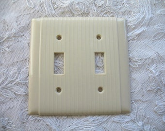 Vintage Art Deco Double Switch Plate  P & S ~ Uniline Ribbed ~ Striated