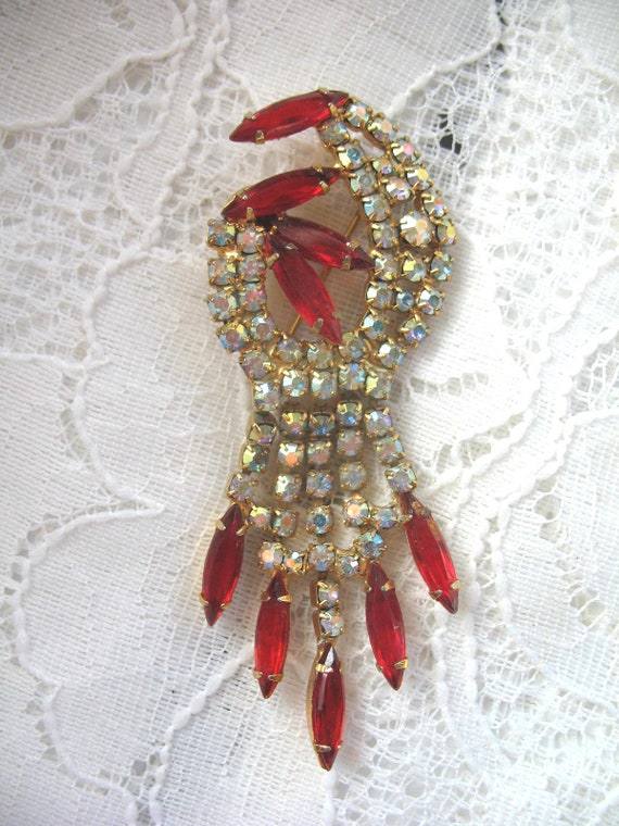 Vintage Rhinestone Brooch ~ Red & AB Crystal Rhine