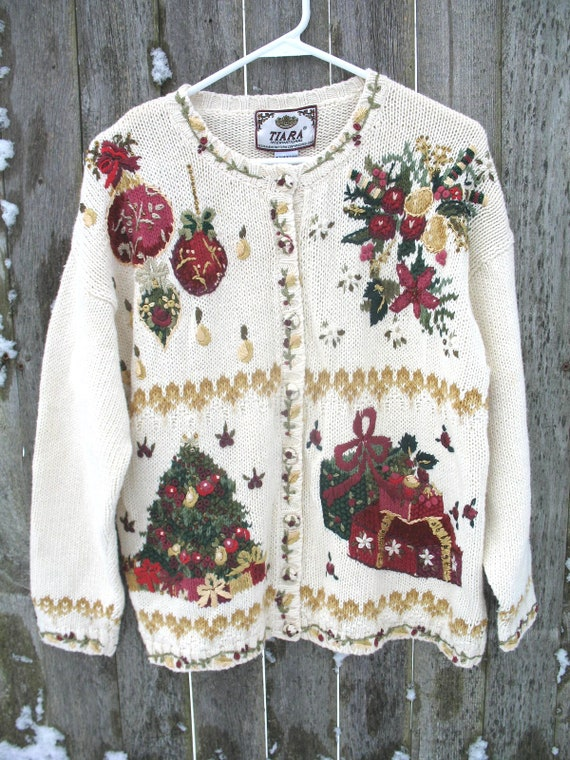 Vintage Ugly Christmas Sweater ~ Christmas Party S