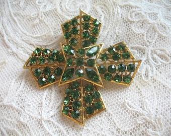 Vintage Rhinestone Brooch ~ Green Maltese Cross