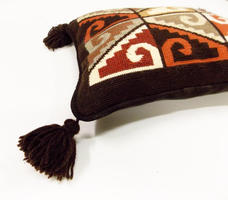 Peruvian Textile Design-- Abstract Textile Design Ethnic Motif Needlepoint Pillow-