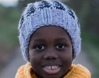 Grey and Black Hand Knit Children's Beanie Hat