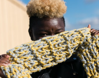 Citron Yellow and Grey Medium Length Textured Hand Knit Scarf, Ready to ship