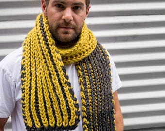 Citron Bright Yellow, Grey and Black Chunky Knit Scarf long scarf for men, ready to ship