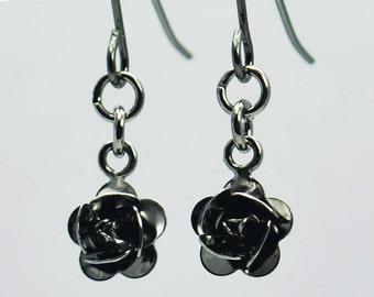 Rose Earrings in Gunmetal - Valentine's Gift, Mother's Day Gift