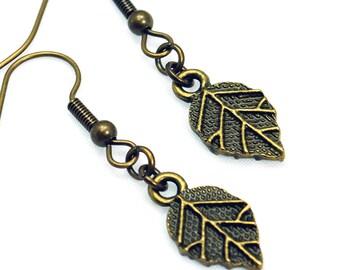Antique Brass Leaf Earrings