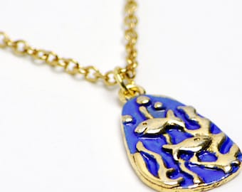 Hand Painted Fish Necklace in Gold - Blue Fish Necklace, Gold Fish Necklace, Happy Fish Necklace, Blue and Gold Necklace, Limited Edition