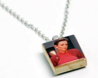 Upcycled Kira Necklace in Antique Brass - Star Trek DS9 Necklace, Kira Jewelry, Kira Nerys Necklace, Star Trek DS9 Jewelry, One of a Kind