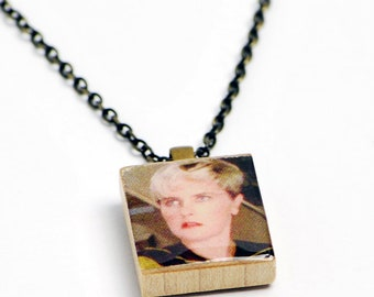 Upcycled Tasha Yar Necklace in Gunmetal - Star Trek TNG Necklace, Tasha Yar Jewelry, Star Trek Necklace, Star Trek Jewelry, Denise Crosby