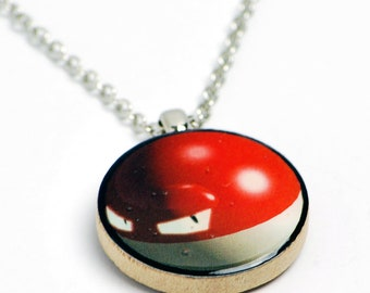Upcycled Voltorb Pokemon Necklace in Silver - Pokemon Necklace, Voltorb Necklace, Pokemon Jewelry, Voltorb Jewelry, One of a Kind, Clearance