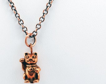 Lucky Cat Necklace in Antique Copper - Cat Necklace, Maneki-Neko Necklace, Waving Cat Necklace, Beckoning Cat Necklaces
