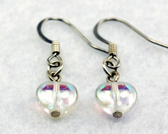 Clear Heart Earrings with Aurora Borealis in Silver - Heart Earrings,  Valentine's Day Gift, Girlfriend Gift