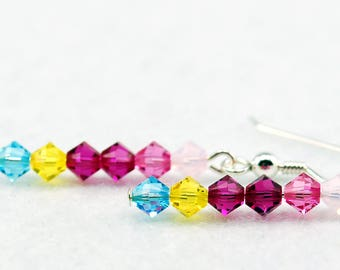 Princess Bubblegum Stick Earrings in Sterling Silver - Adventure Time Earrings, Princess Bubblegum Jewelry, Geek Prom, Fandoms in Swarovski