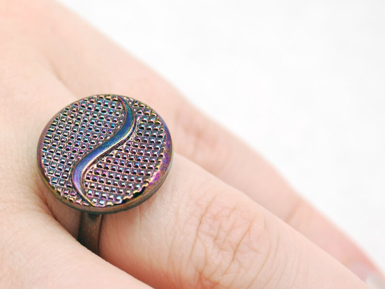 Vintage Glass Ring Purple Tilde Ring in Antique Copper Adjustable Ring Limited Edition