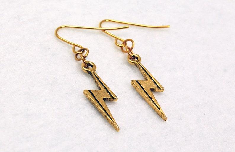 ddae89b71 Harry Potter Inspired Earrings Lightning Bolt Scar in Gold | Etsy