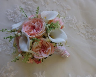 prom homecoming pink garden rose and white real touch calla lily bouquet wedding Lily of the valley Bouquet and boutonniere