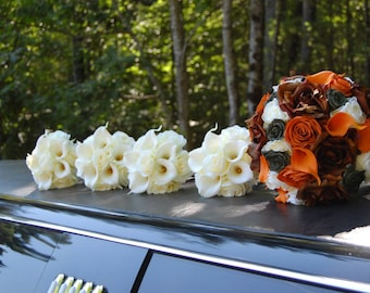 Cream, ivory bridesmaids bouquet, roses and real touch calla lilies, Camo, mossy oak camouflage accent