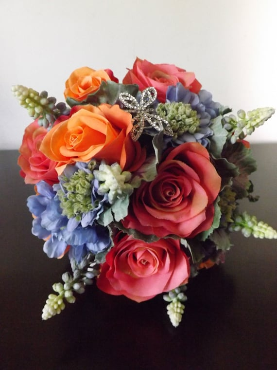 blue muscari prom wedding orange and pink roses purple ornamental kale and blue scabiosa with crystal dragonfly Dragonfly bouquet