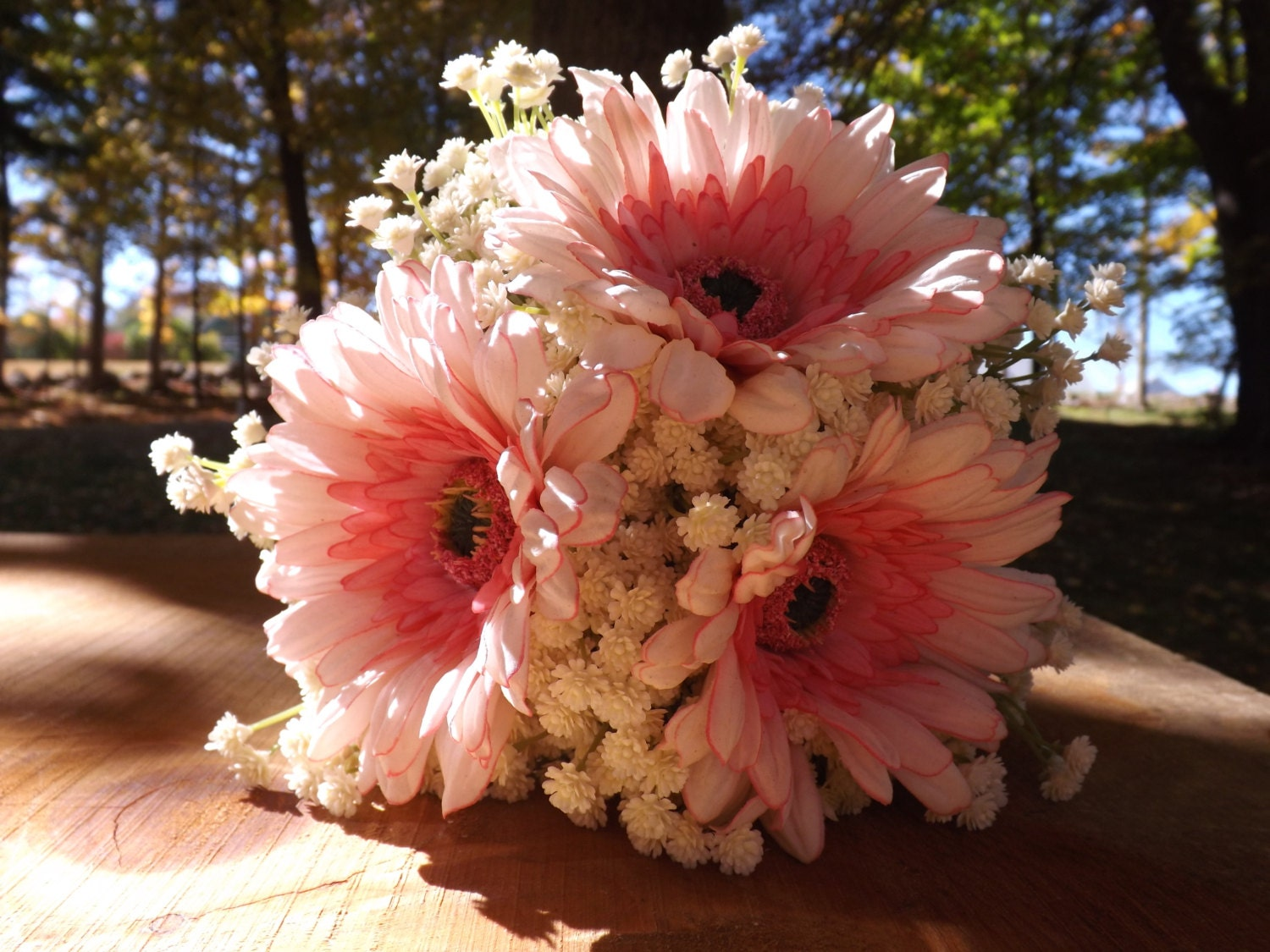 Sweet Bouquet Pink Gerbera Daisy With Babies Breath And