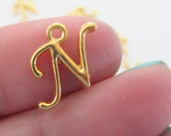 Initial Letter N - Gold Charm Uppercase Alphabet - Alphabet Initial Pendant - 6 N PCS - Personalized Jewelry - DIY Jewelry findings
