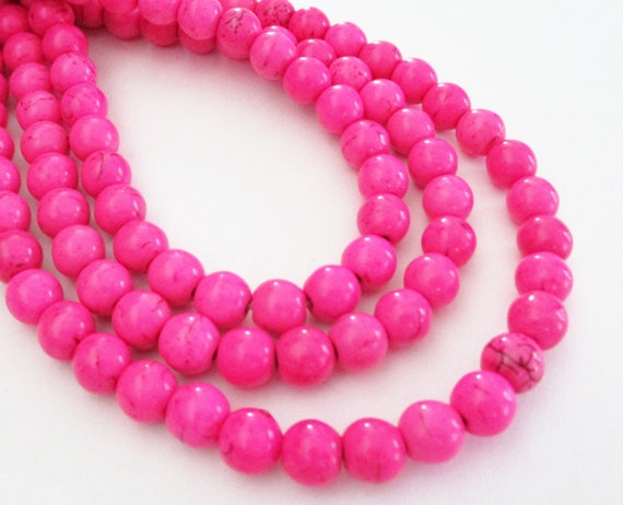 Smooth Round Shape Hot Pink Howlite available in two sizes