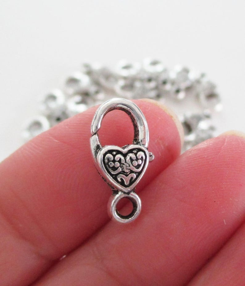 Metal Jewelry Findings Diy Silver Supplies Lock Clasp Silver Lobster Clasp Heart Shaped Lobster Clasp 10 Pcs 17mmx9mm