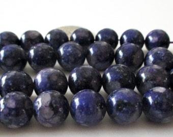 "Dark Purple Jasper Beads - Mosaic Round  Beads - Natural Smooth Stone - Drilled Snake Skin Beads - 12mm - 16"" Strand - DIY Unisex Bracelets"