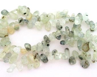 "Kyanite Teardrop Beads - Green Smooth Pear Briolettes - Top Drilled Polished Gemstone - Dark Speckled - 16"" Strand - DIY JewelryMaking"