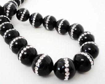 Onyx Beads - Onyx with Rhinestone Embedded Inlaid Beads - Black Smooth Round Beads - 13mm - Jewelry Making - 2 Beads - Bulk Options Beads