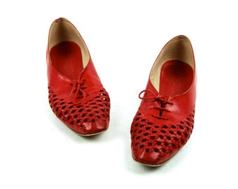 Reserved for Sid ............. Perforated Red Leather Shoes by Bandolino,  Made in Italy, Excellent Condition