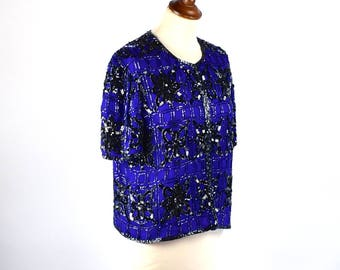 Elegant Sequined and Beaded Silk Blouse by Stenay, Size Small