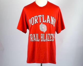 Early 1980's Portland Trail Blazers T-shirt by Nutmeg Mills, Size Extra Large, 50/50 Polyester/Cotton, Made in the USA